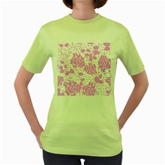 Floral Wallpaper Pink Women s Green T-shirt by ImpressiveMoments