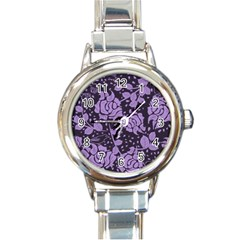 Floral Wallpaper Purple Round Italian Charm Watches by ImpressiveMoments