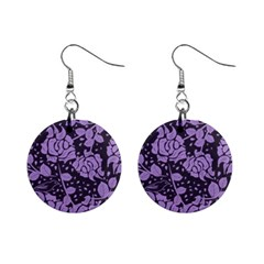 Floral Wallpaper Purple Mini Button Earrings by ImpressiveMoments