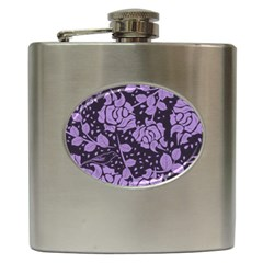 Floral Wallpaper Purple Hip Flask (6 Oz) by ImpressiveMoments