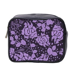 Floral Wallpaper Purple Mini Toiletries Bag 2 Side by ImpressiveMoments