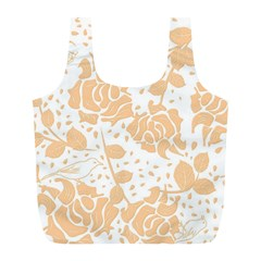 Floral Wallpaper Peach Full Print Recycle Bags (l)  by ImpressiveMoments