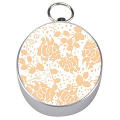 Floral Wallpaper Peach Silver Compasses by ImpressiveMoments