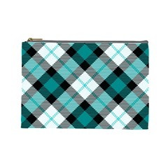 Smart Plaid Teal Cosmetic Bag (large)