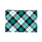 Smart Plaid Teal Cosmetic Bag (Large)  Front