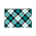 Smart Plaid Teal Cosmetic Bag (Large)  Back