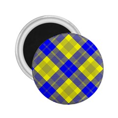 Smart Plaid Blue Yellow 2 25  Magnets by ImpressiveMoments