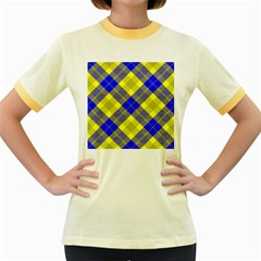 Smart Plaid Blue Yellow Women s Fitted Ringer T Shirts