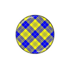 Smart Plaid Blue Yellow Hat Clip Ball Marker (4 Pack) by ImpressiveMoments