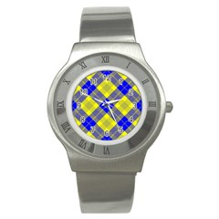Smart Plaid Blue Yellow Stainless Steel Watches