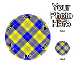 Smart Plaid Blue Yellow Playing Cards 54 (round)  by ImpressiveMoments
