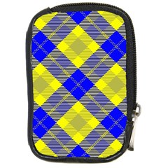 Smart Plaid Blue Yellow Compact Camera Cases by ImpressiveMoments