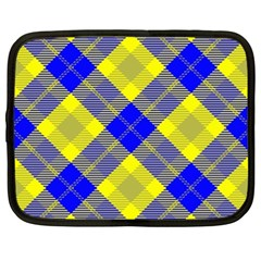 Smart Plaid Blue Yellow Netbook Case (xl)  by ImpressiveMoments