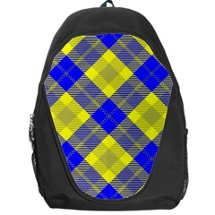 Smart Plaid Blue Yellow Backpack Bag by ImpressiveMoments