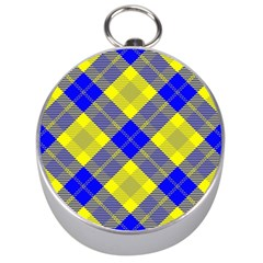Smart Plaid Blue Yellow Silver Compasses by ImpressiveMoments