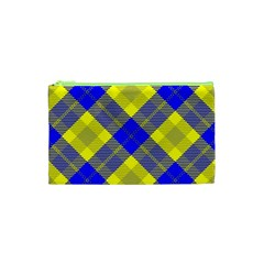 Smart Plaid Blue Yellow Cosmetic Bag (xs) by ImpressiveMoments