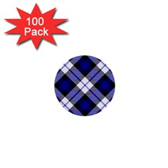 Smart Plaid Blue 1  Mini Buttons (100 Pack)  by ImpressiveMoments
