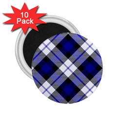Smart Plaid Blue 2 25  Magnets (10 Pack)  by ImpressiveMoments