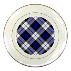 Smart Plaid Blue Porcelain Plates by ImpressiveMoments