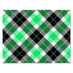 Smart Plaid Green Rectangular Jigsaw Puzzl by ImpressiveMoments