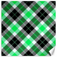 Smart Plaid Green Canvas 16  X 16   by ImpressiveMoments