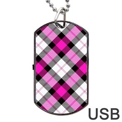 Smart Plaid Hot Pink Dog Tag Usb Flash (one Side) by ImpressiveMoments