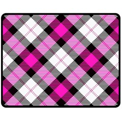 Smart Plaid Hot Pink Double Sided Fleece Blanket (medium)  by ImpressiveMoments