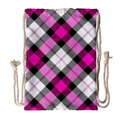 Smart Plaid Hot Pink Drawstring Bag (large)