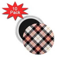 Smart Plaid Peach 1 75  Magnets (10 Pack)  by ImpressiveMoments
