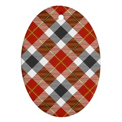 Smart Plaid Warm Colors Ornament (oval)  by ImpressiveMoments