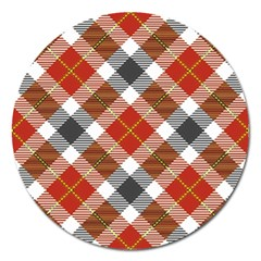 Smart Plaid Warm Colors Magnet 5  (round) by ImpressiveMoments