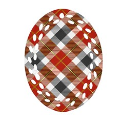 Smart Plaid Warm Colors Oval Filigree Ornament (2 Side)  by ImpressiveMoments