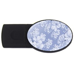 Delicate Floral Pattern,blue  Usb Flash Drive Oval (4 Gb)  by MoreColorsinLife