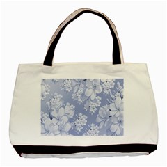 Delicate Floral Pattern,blue  Basic Tote Bag (two Sides)