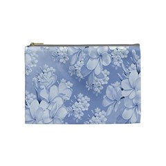 Delicate Floral Pattern,blue  Cosmetic Bag (medium)  by MoreColorsinLife