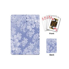 Delicate Floral Pattern,blue  Playing Cards (mini)  by MoreColorsinLife