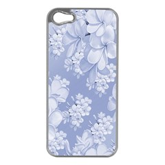 Delicate Floral Pattern,blue  Apple Iphone 5 Case (silver) by MoreColorsinLife