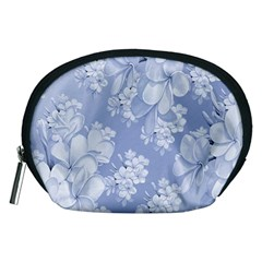 Delicate Floral Pattern,blue  Accessory Pouches (medium)  by MoreColorsinLife