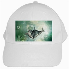 Funny Dswimming Dolphin White Cap