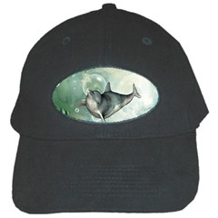 Funny Dswimming Dolphin Black Cap
