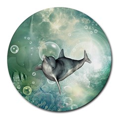 Funny Dswimming Dolphin Round Mousepads