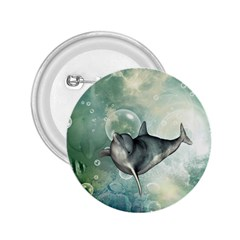 Funny Dswimming Dolphin 2 25  Buttons
