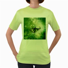Funny Dswimming Dolphin Women s Green T Shirt
