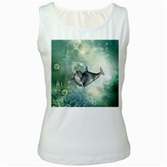 Funny Dswimming Dolphin Women s Tank Tops