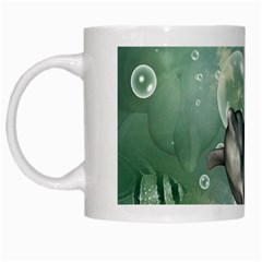 Funny Dswimming Dolphin White Mugs