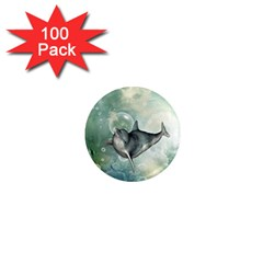 Funny Dswimming Dolphin 1  Mini Magnets (100 Pack)