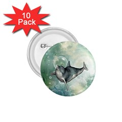 Funny Dswimming Dolphin 1 75  Buttons (10 Pack)