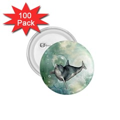 Funny Dswimming Dolphin 1 75  Buttons (100 Pack)
