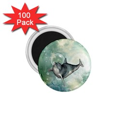 Funny Dswimming Dolphin 1 75  Magnets (100 Pack)
