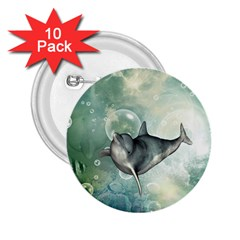 Funny Dswimming Dolphin 2 25  Buttons (10 Pack)